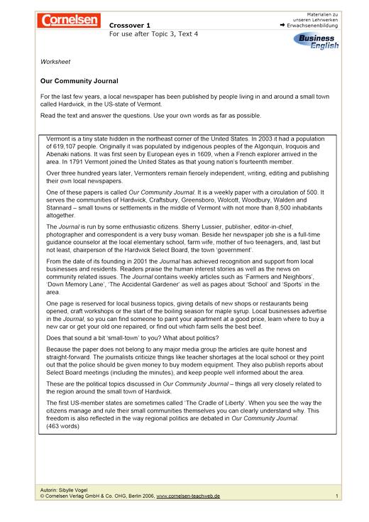 Our Community Journal - Arbeitsblatt | Cornelsen