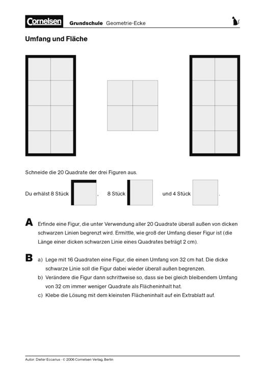 Groß Fläche Und Umfang Arbeitsblatt Mathematik Printables Eine ...