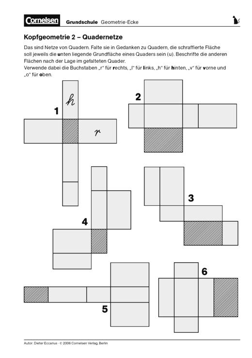 Kopfgeometrie (2) - Netze in Gedanken zu Quadern falten ...