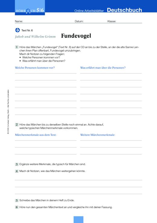 Jakob und Wilhelm Grimm: Fundevogel - Arbeitsblatt zum Hörbuch ...