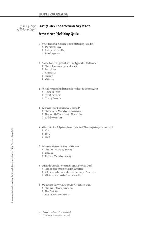 American Holiday Quiz - Arbeitsblatt | Cornelsen