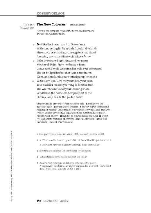 The New Colossus - Chapter 09 - Arbeitsblatt   Cornelsen