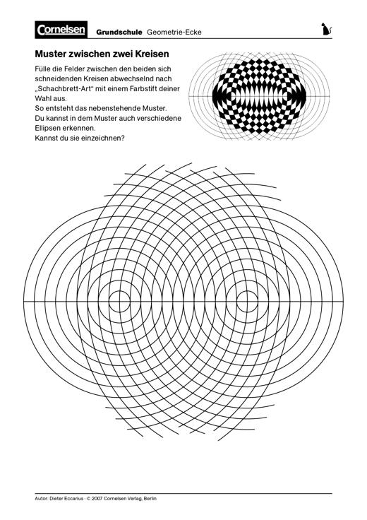 Muster zwischen zwei Kreisen - Färben eines Schachbrettmusters ...
