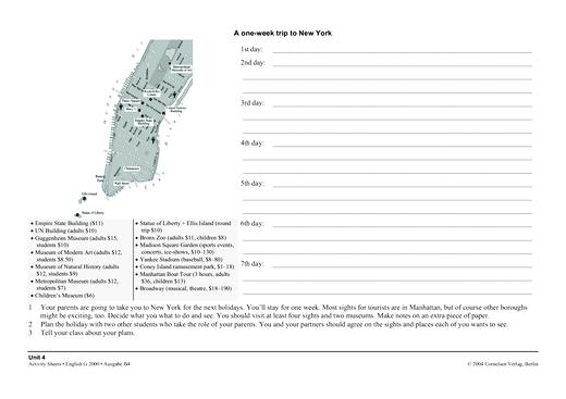 Activity Sheet: A one-week trip to New York - Arbeitsblatt | Cornelsen
