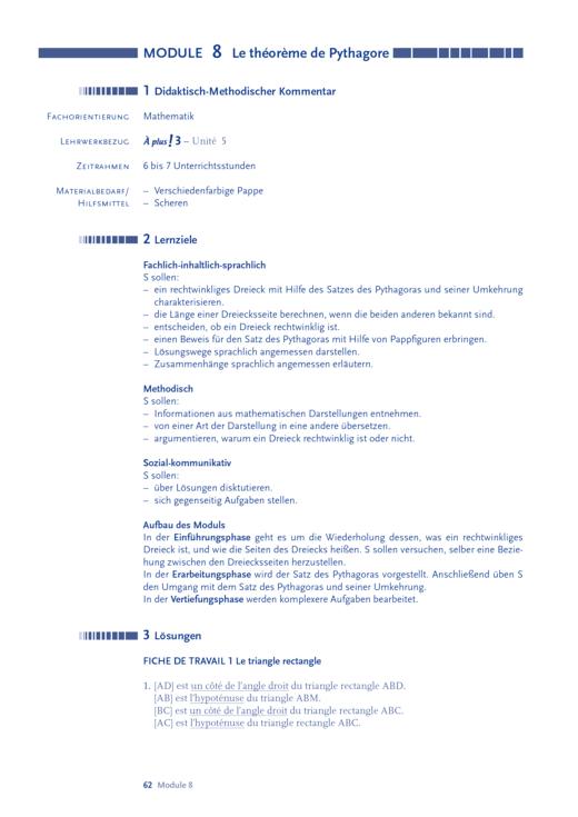 À plus ! 3, Unité 5: Le théorème de Pythagore - Arbeitsblatt | Cornelsen