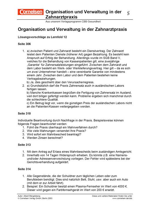 Organisationverwaltung In D Zahnarztpraxis Lf12 Lösungen Cornelsen