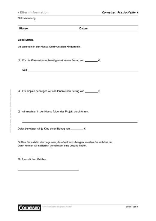 Geldsammlung Elternbrief Editierbare Kopiervorlage Cornelsen