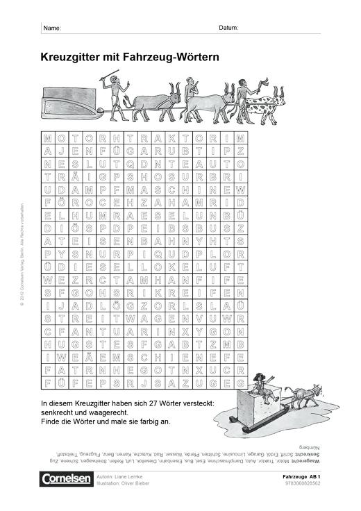 Fahrzeuge - Arbeitsblatt | Cornelsen