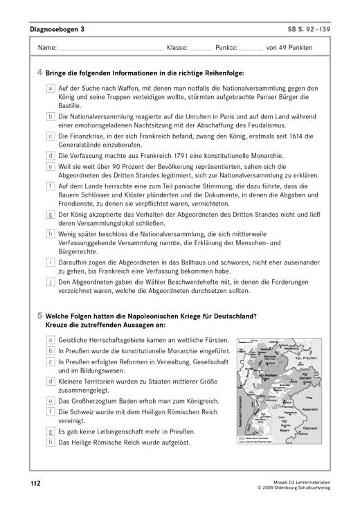 Diagnosebogen 2 zu Mosaik D 2 - Arbeitsblatt | Cornelsen