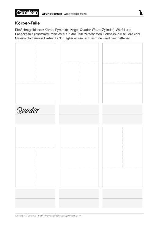 Körper-Teile - Arbeitsblatt | Cornelsen