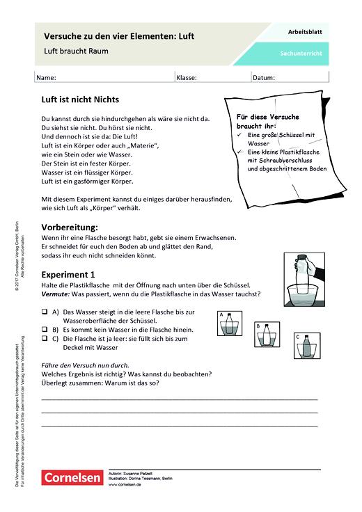 Versuche zu den vier Elementen: Luft - Arbeitsblatt | Cornelsen