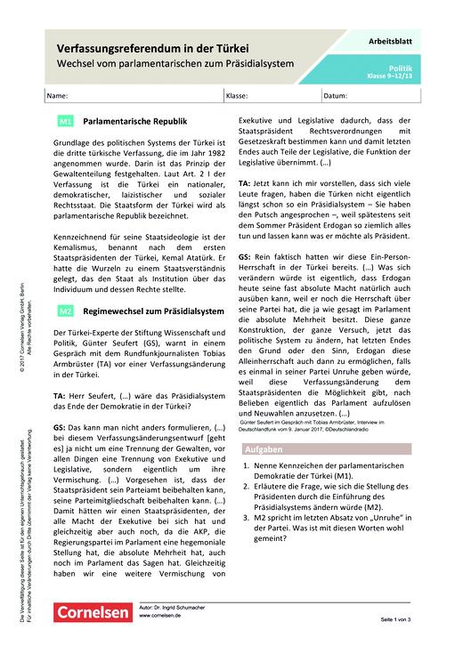 Verfassungsreferendum in der Türkei – Wechsel vom parlamentarischen ...