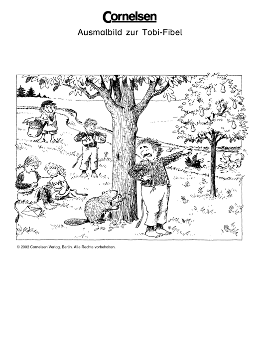 Ausmalbild zur Tobi-Familie: Ein Sommertag - Arbeitsblatt | Cornelsen