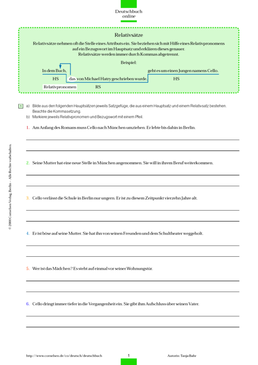 Grammatik- und Rechtschreibübung: Satzgefüge/Zeichensetzung bei ...