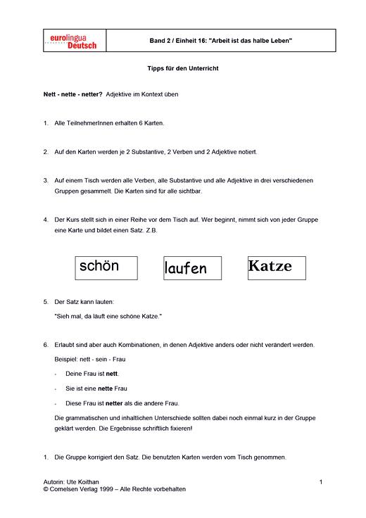 Nett, nette, netter? - Arbeitsblatt | Cornelsen