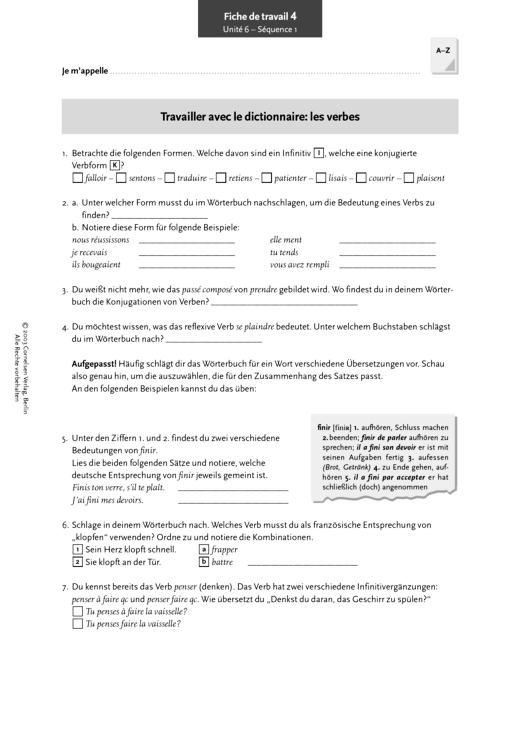 Réalités 3, Unité 6, Séq. 1: Travailler avec le dictionnaire: les ...