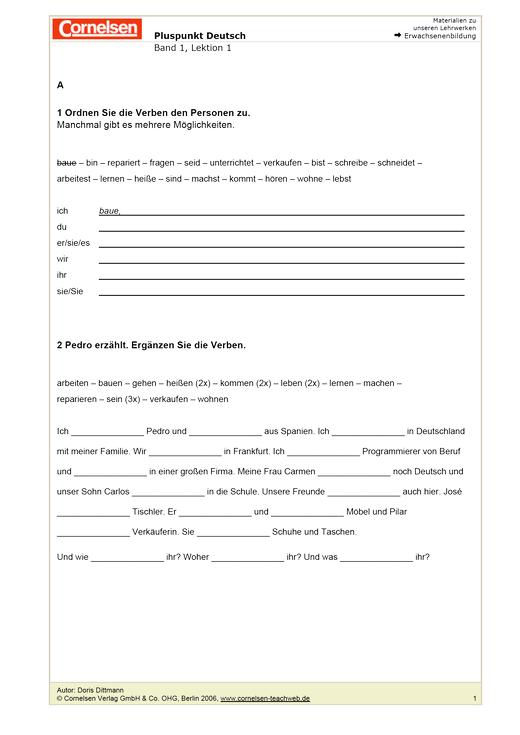 Arbeitsblatt: Wie heißt du? Wiederholung - Arbeitsblatt | Cornelsen