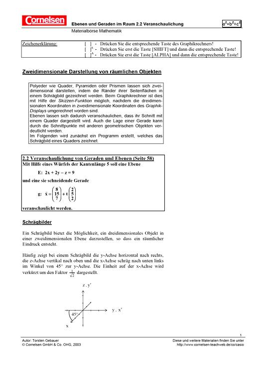 Zu Kapitel 2.2: Ebenen und Geraden im Raum - Arbeitsblatt   Cornelsen