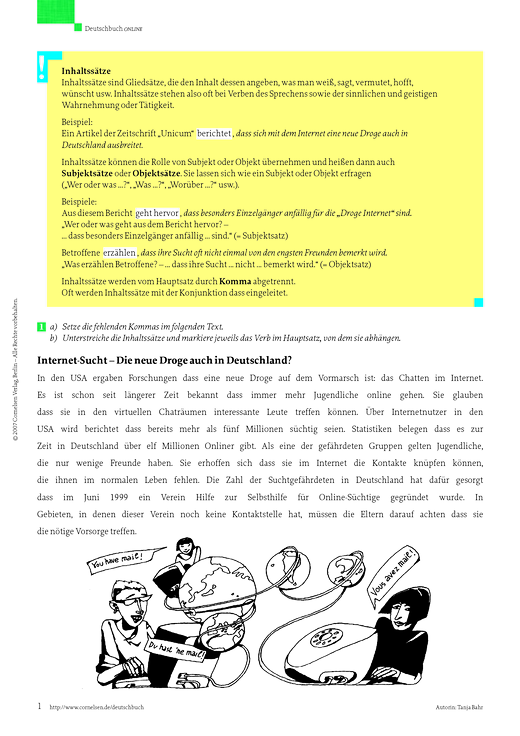 Kommasetzung bei Satzgefügen (Subjekt- und Objektsätze ...