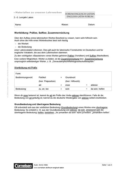 Wortbildung: Präfixe, Suffixe; Zusammenrückung - Arbeitsblatt ...