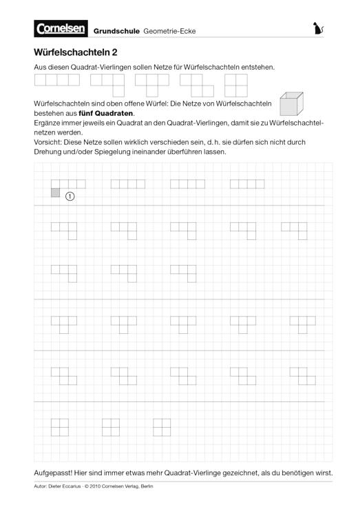Würfelschachteln 2 - Arbeitsblatt | Cornelsen