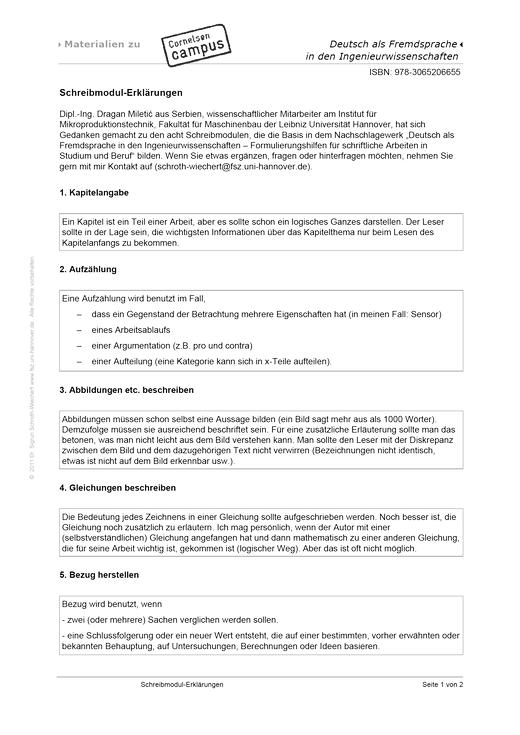 Schreibmodul-Erklärungen - Arbeitsblatt | Cornelsen