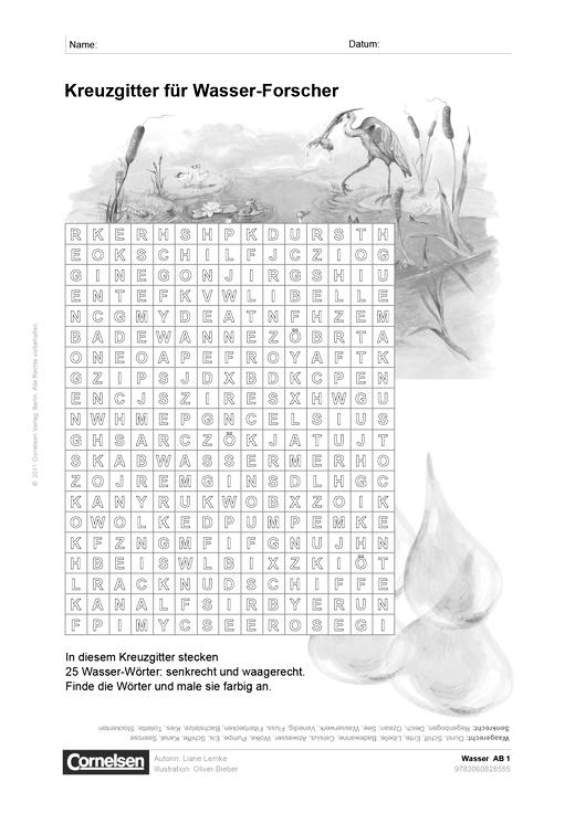 """Klassenbibliothek: Wasser """"Kreuzgitter für Wasser-Forscher"""" - 3./4 ..."""