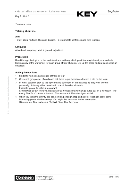 Key A1 Unit 3 Talking about me - Arbeitsblatt | Cornelsen