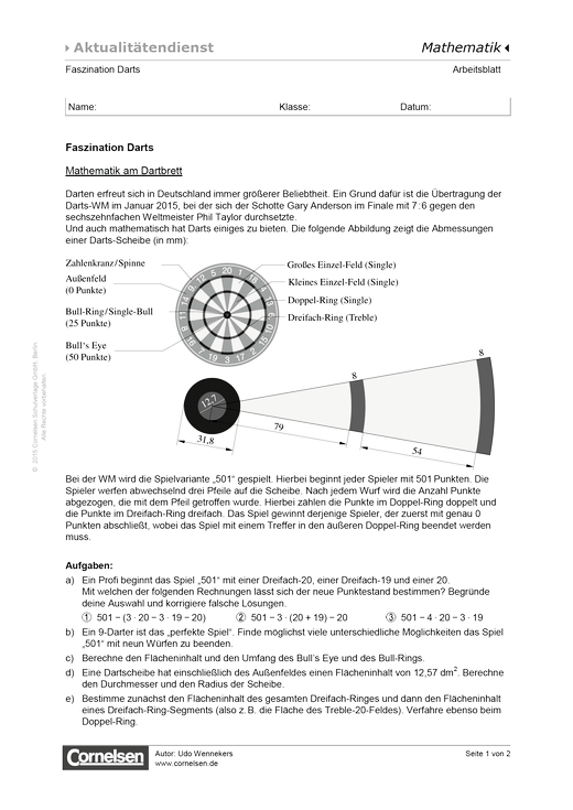 Faszination Darts - Mathematik am Dartbrett - Arbeitsblatt   Cornelsen