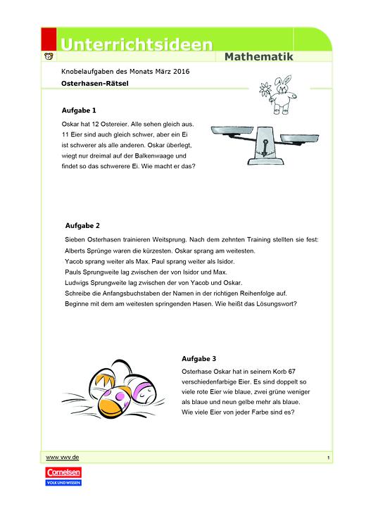Matheknobelei: Osterhasen-Rätsel - Arbeitsblatt | Cornelsen