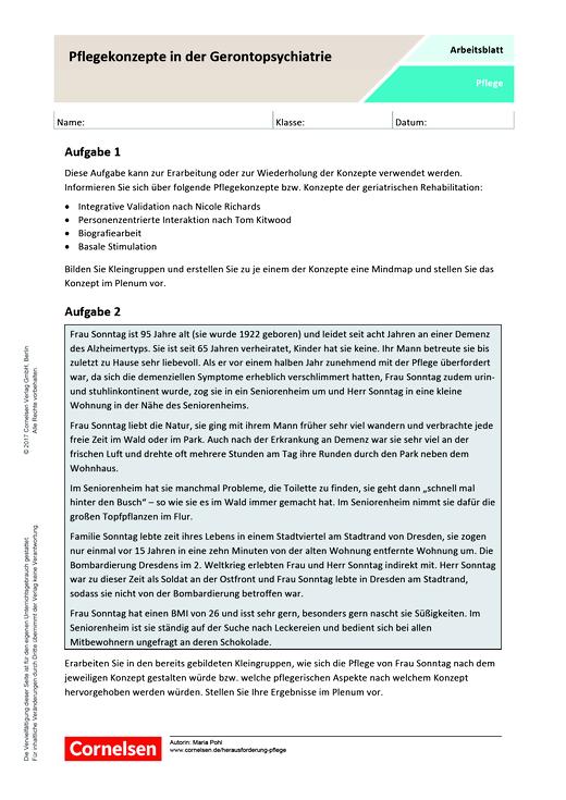 Pflegekonzepte in der Gerontopsychiatrie - Arbeitsblatt | Cornelsen