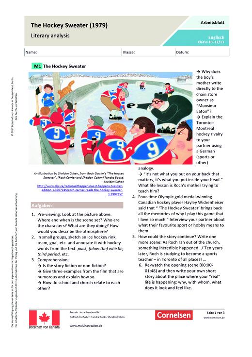 The Hockey Sweater - Arbeitsblatt | Cornelsen