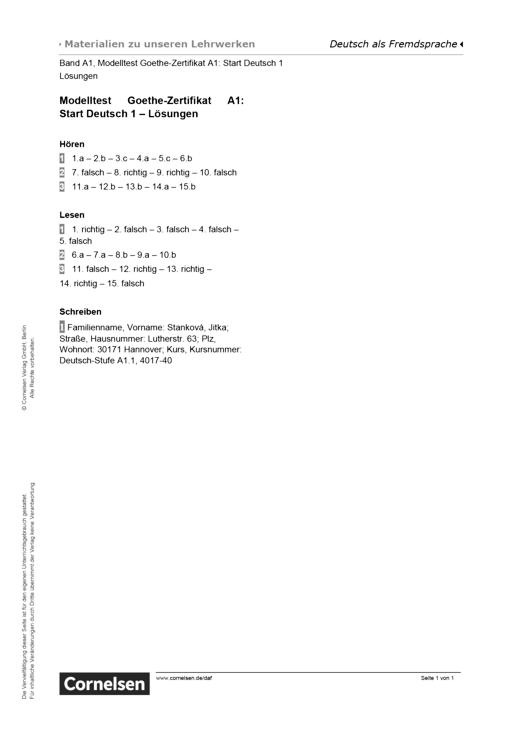 Modelltest Goethe Zertifikat A1 Start Deutsch 1 Lösungen