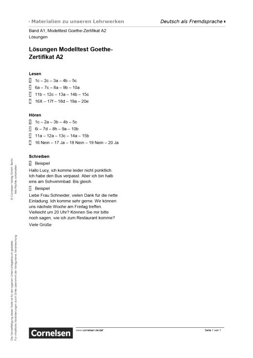 "Modelltest ""Goethe-Zertifikat A2"" – Lösungen - Lösungen | Cornelsen"